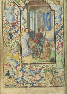Lievan van Lathem, 'Charles the Bold Presented by Saint George', 1471, Tempera colors, gold leaf, gold paint, silver paint, and ink on parchment, J. Paul Getty Museum