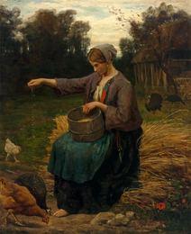 Jeune Femme Nourrissant ses Volailles