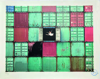 The ballerina jumping in containers, Le Havre, France