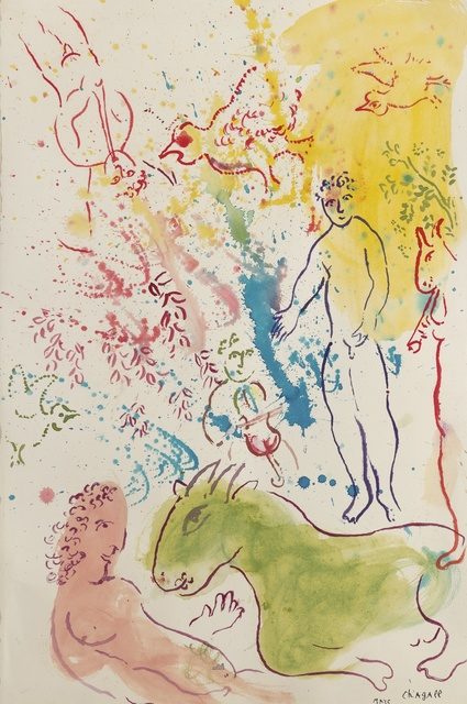 Marc Chagall, 'La fête autour du nu rose', ca. 1980, Drawing, Collage or other Work on Paper, Gouache, watercolor, ink and pastel on paper, BAILLY GALLERY