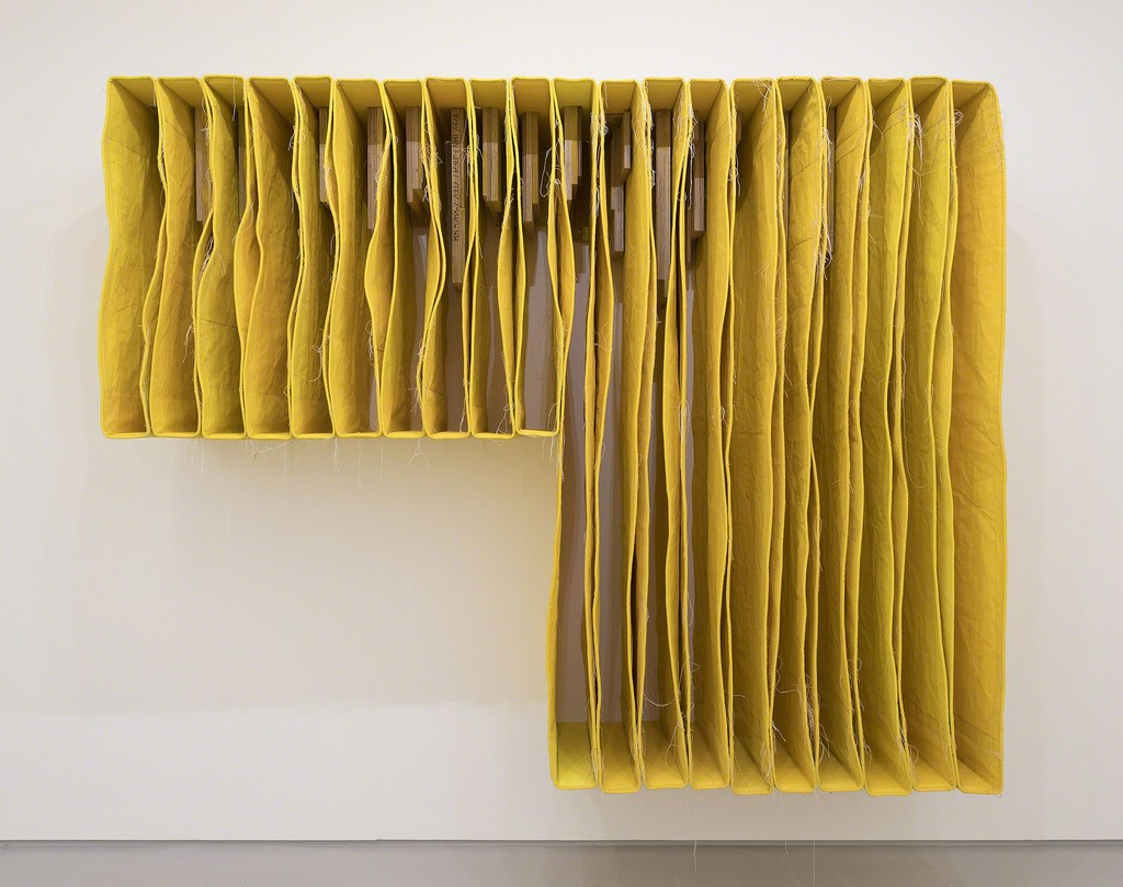 Simon Callery UNDERCUT YELLOW WALLSPINE 2017 Canvas, distemper, thread and pencil  200 x 250 x 56 cm