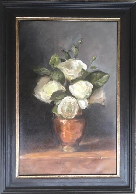 , 'White roses in a copper vase,' 2018, Robert Eagle Fine Art