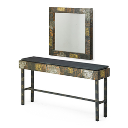 Custom Patchwork Console Table And Mirror, USA