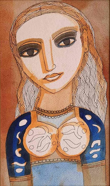 """, 'The Young Bride, Watercolour on Paper by Modern Artist """"In Stock"""",' 2006, Gallery Kolkata"""