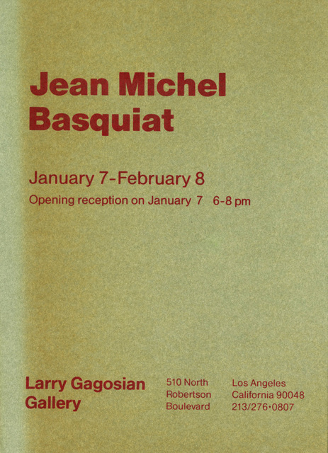 Jean-Michel Basquiat, 'Vintage 1980s Basquiat announcement (Basquiat at Gagosian, Los Angeles) ', 1986, Ephemera or Merchandise, 80lb textured card stock, Lot 180