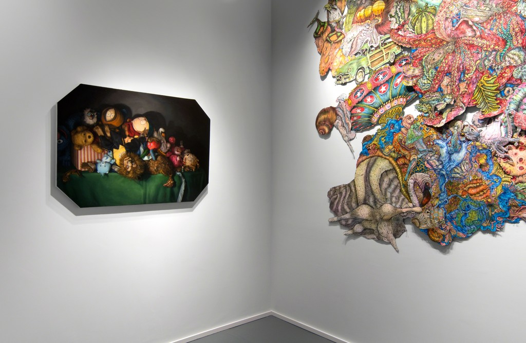 """""""Still Life of Toys and Roadkill,"""" by Cara DeAngelis and John Haverty's, """"Gangrene."""""""