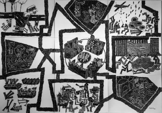 , 'O labirinto dos abutres: O Capitalismo e suas consequências e Ndzumb,' 2016, Galeria 111