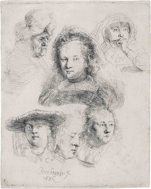 Rembrandt van Rijn, 'STUDIES OF THE HEADS OF SASKIA AND OTHERS (B., HOLL. 365; H. 145; NEW HOLL. 157)', 1636, Doyle