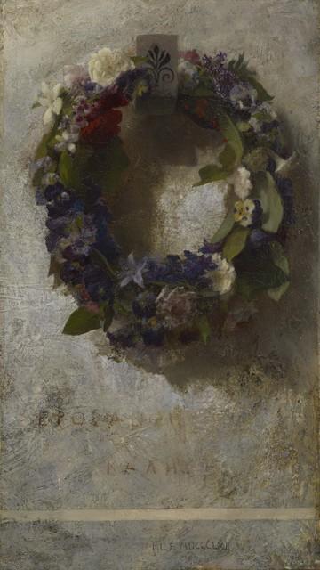 John La Farge, 'Agathon to Erosanthe (Votive Wreath)', 1861, Painting, Oil on canvas, Colby College Museum of Art
