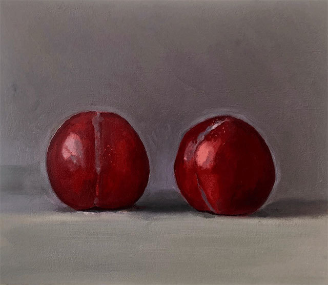Dan McCleary, 'Red Plums', 8.30.19, Painting, Oil on canvas, Craig Krull Gallery