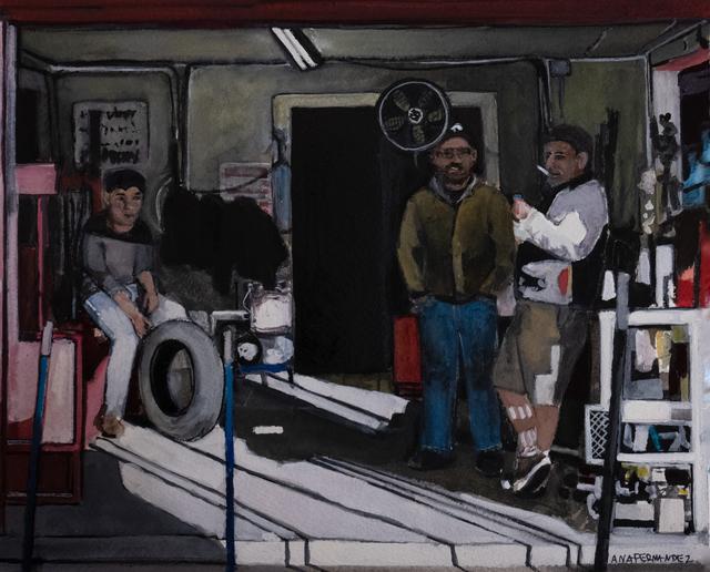 , 'Tire Guys,' 2018, Cinnabar