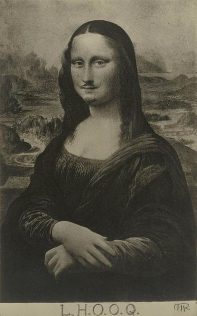 ", 'Mona Lisa as seen by Duchamp (""La Joconde"" vue par Duchamp).,' 1921-1922, J. Paul Getty Museum"