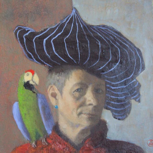 Olga Antonova, 'Self Portrait with parrot', 2017, Rice Polak Gallery