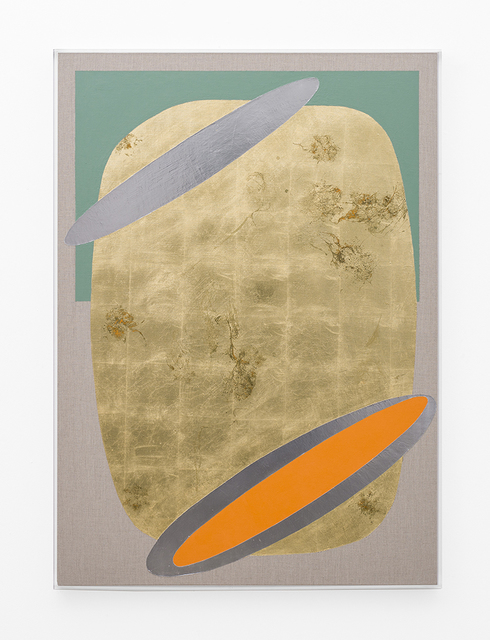, 'Hair orchid sweat print, orange and oxide green with mirror pool,' 2018, SMAC