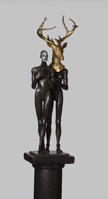 Cecilia Z. Miguez, 'The Arrival', 2019, Sculpture, Gold leaf and oil paint on bronze with polymerized gypsum column, Louis Stern Fine Arts