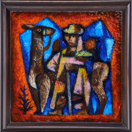 Untitled plaque along with the preparatory drawing (Farmer and Llama), USA