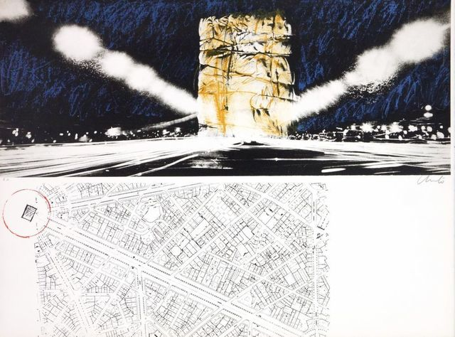 Christo and Jeanne-Claude, 'The wrapping of l'Arc de Triumph', 1972, Print, Original lithograph on Rives paper, Samhart Gallery