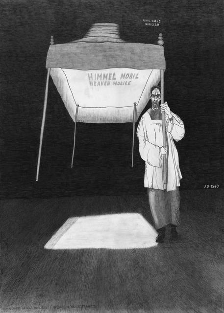 , 'Schirm gegen Nihilismus / Umbrella against Hihilism (from the series: Die gezeichneten Ausstellungen),' 2017, Galerie Krinzinger