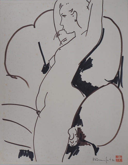 Alain Bonnefoit, 'Nude in design chair', 20th  Century, Drawing, Collage or other Work on Paper, Watercolour, AFL