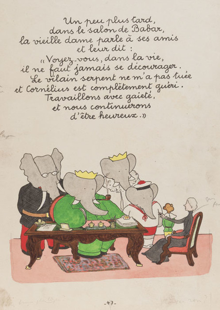 ", 'A week later, in Babar's drawing room, the Old Lady says to her two friends: ""Do you see how in this life one must never be discouraged? The vicious snake didn't kill me, and Cornelius is completely recovered. Let's work hard and cheerfully and we'll continue to be happy."",' 1935, Mary Ryan Gallery, Inc"