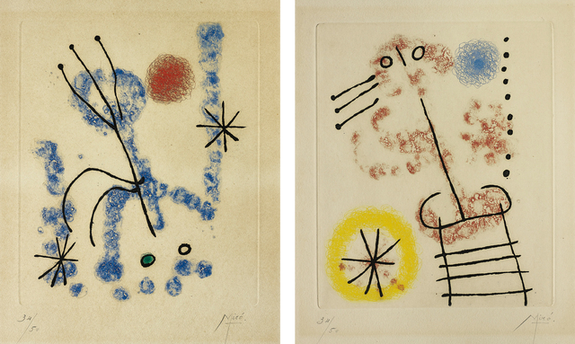 Joan Miró, 'Feuilles éparses (Scattered Leaves): two plates', 1957, Phillips