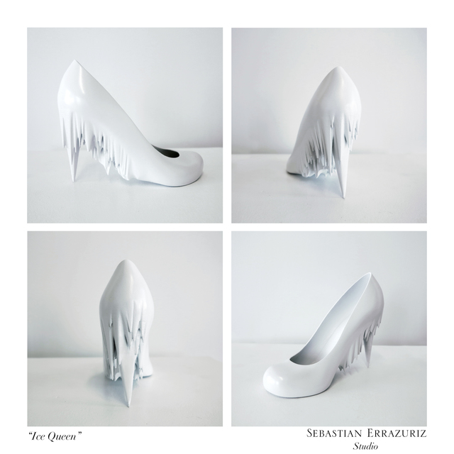 """Sebastian Errazuriz, 'Ice Queen, Sophiefrom the series """"12 Shoes for 12 Lovers""""', 2013, Design/Decorative Art, 3-D printed ABS plastic, resin, and acrylic paint, Museum of Arts and Design"""