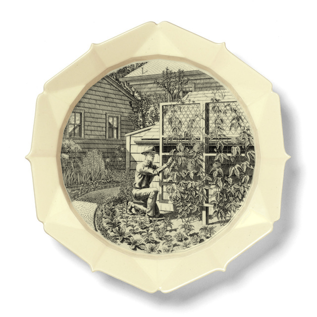 Andrew Raftery, 'JUNE: Training a Passion Vine', 2016, Print, Engraving transfer-printed on glazed white earthenware plate, RYAN LEE