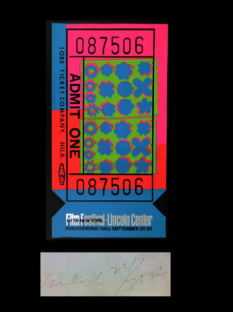 "Andy Warhol, '""Lincoln Center Ticket"", The 1967 SCARCE ACRYLIC EDITION of 200 SIGNED.', 1967, VINCE fine arts/ephemera"