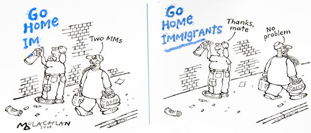 , 'GO HOME IMMIGRANTS,' 2018, Chris Beetles Gallery