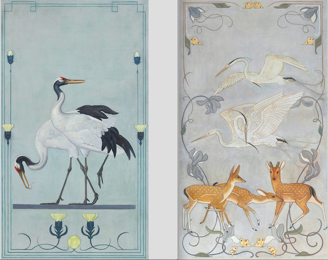 , 'Japanese Cranes & Cranes and Deer,' ca. 1899, Mireille Mosler Ltd.