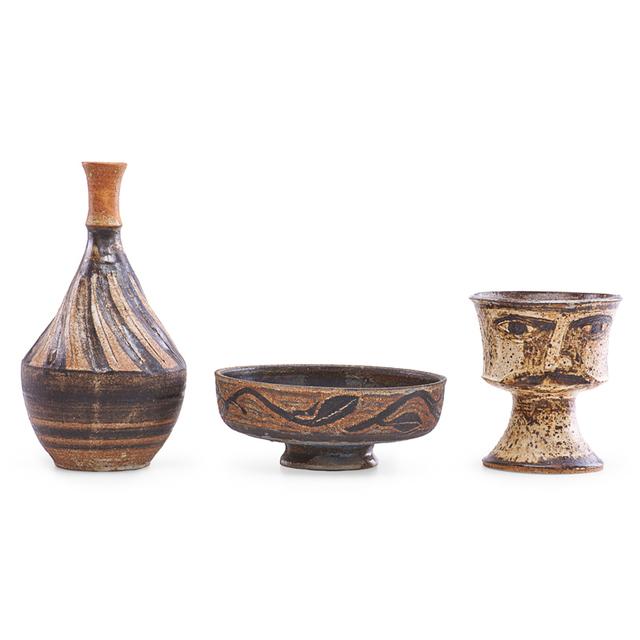 Marguerite Wildenhain, 'Portrait goblet, low bowl, and vase, Guerneville, CA', Rago