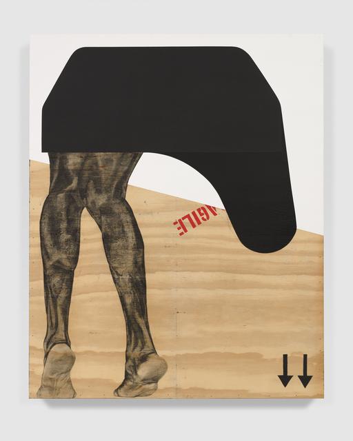 Serge Alain Nitegeka, 'Migrant: Studio Study III', 2020, Painting, Paint and charcoal on wood, Marianne Boesky Gallery