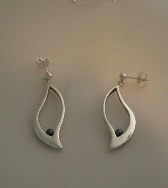 Katherine Marie Spahr, 'Berta Sterling Silver Black Pearl Earrings', 2000-2019, Gallery 1505