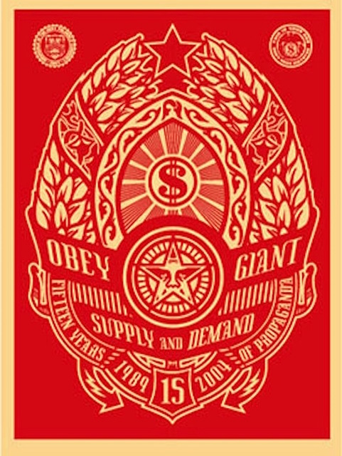Shepard Fairey (OBEY), 'Supply and Demand (Red)', 2004, Gregg Shienbaum Fine Art