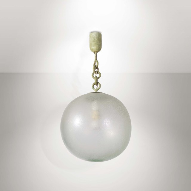 Seguso, 'A pendant lamp with a metal structure and an acid-etched diffuser shade', 1930 ca., Cambi