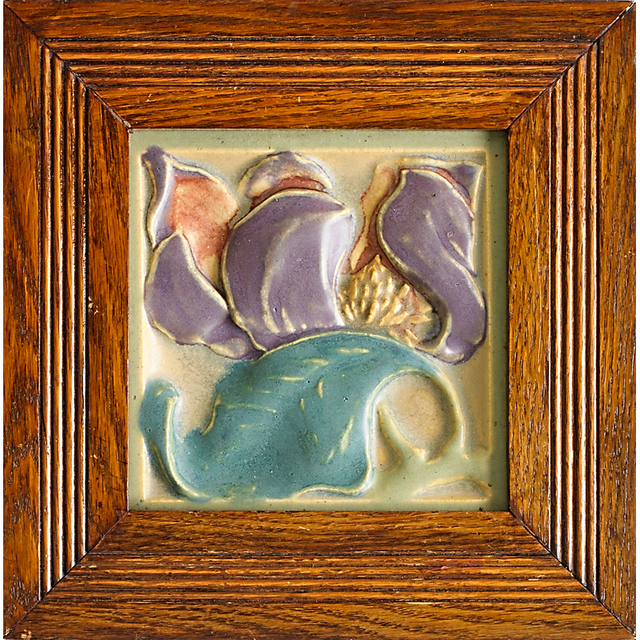 Rookwood Pottery, 'Rookwood Faience, Three Tiles With Ships, Magnolias, And Dogwood Blossoms (All Framed), Cincinnati, OH', after 1907, Rago/Wright