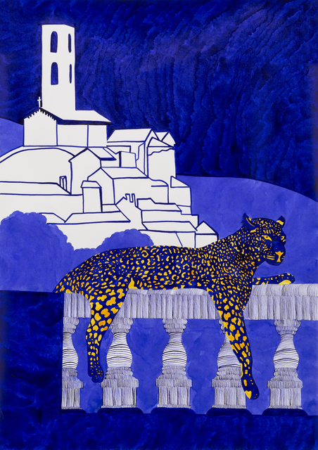 , 'Who Guards the Guards? Well Bob the Massive Blue Leopard Helps Out,' 2017, India Dickinson