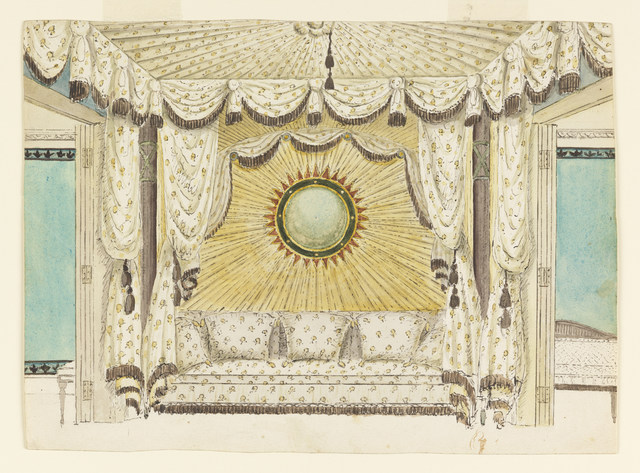 Frederick Crace, 'Design for Bed with Tented Alcove, probably for the Prince of Wales's Bedroom or Boudoir, Royal Pavilion, Brighton', ca. 1801-1804, Drawing, Collage or other Work on Paper, Pen and black ink, brush and watercolor on white wove paper, Cooper Hewitt, Smithsonian Design Museum