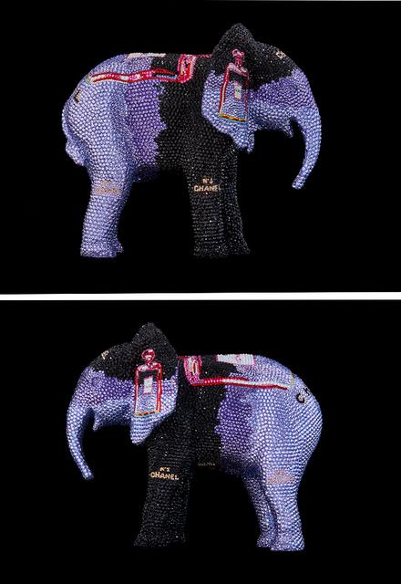 """, 'ELEPHANT Small """"CHANEL No. 5 in purple"""" feat. Warhol,' 2019, Galerie de Bellefeuille"""