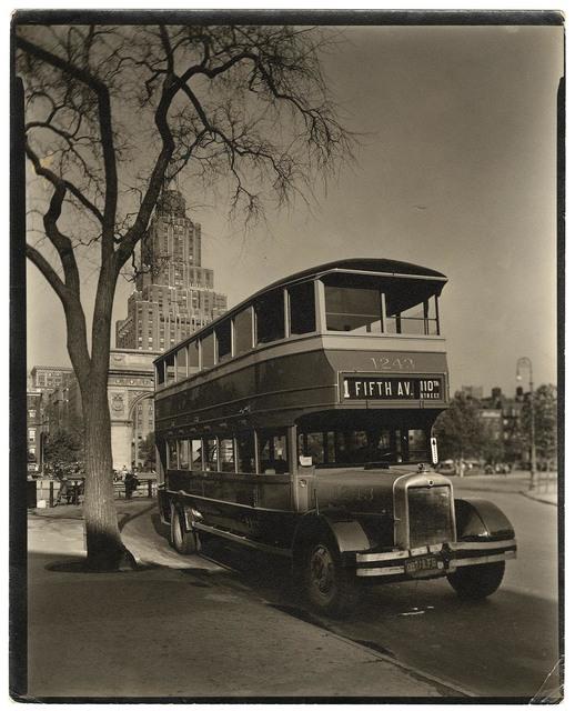 , 'Fifth Avenue Bus. Washington Square, Manhattan.,' 1936, The Old Print Shop, Inc.