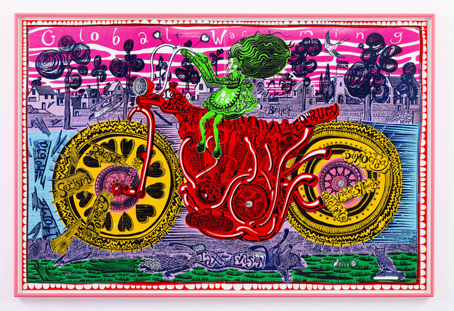 Grayson Perry, 'Selfie with Political Causes (woodcut)', 2018, Paragon