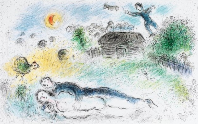 Marc Chagall, 'Les Amoureaux de L'Isba', 1980, Print, Lithograph, New River Fine Art