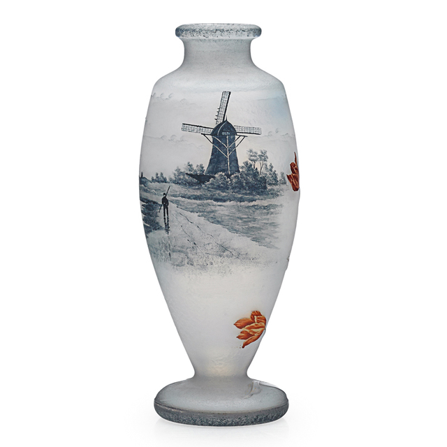 Daum, 'Vase With Dutch Windmill Scene And Tulips, France', Early 20th C., Rago/Wright