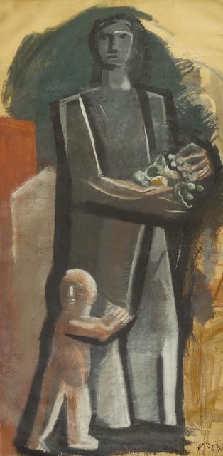 Mario Sironi, 'Madre con bambino', ca. 1936-37, Painting, Tecnica mista su carta da spolvero applicata su tela, Galleria d'Arte 56