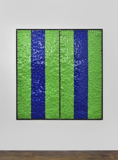 , 'Extrait (tôle,choc) les rêves individuels et les événements de la vie matérielle et sociale, fragment vert bleu,' 2017, Galerie Thomas Bernard