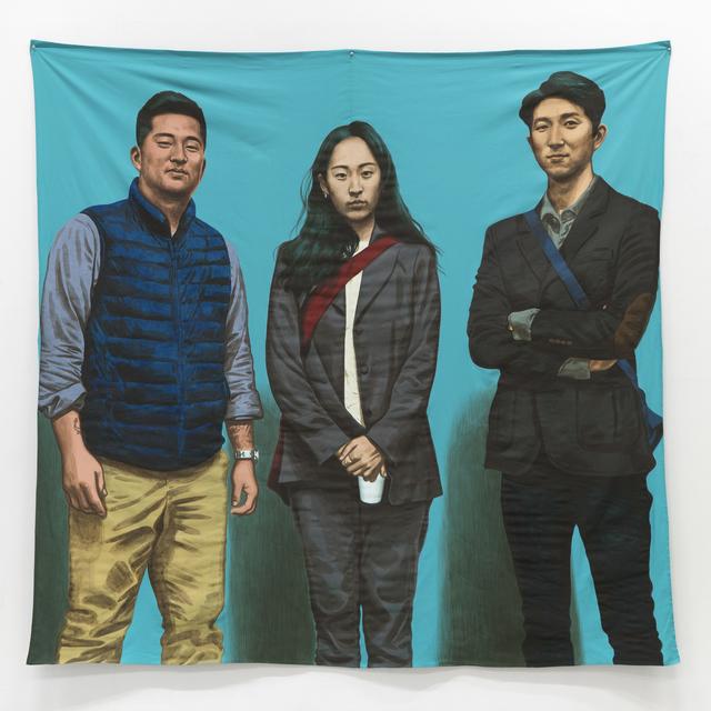 , 'Nosik, Yoosung, and Jungsoo; at the Opening in Hapjeongjigu,' 2017, Hakgojae Gallery