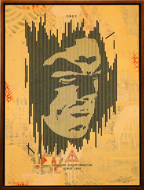Shepard Fairey (OBEY), 'Decoding Disinformation (Cream)', 2015, Underdogs Gallery