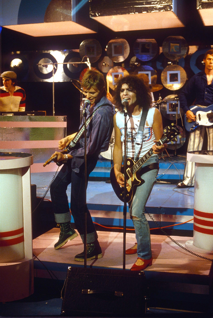 Sheila Rock, 'David Bowie & Marc Bolan on the TV Show 'Marc', 7th September 1977', 1977, ElliottHalls