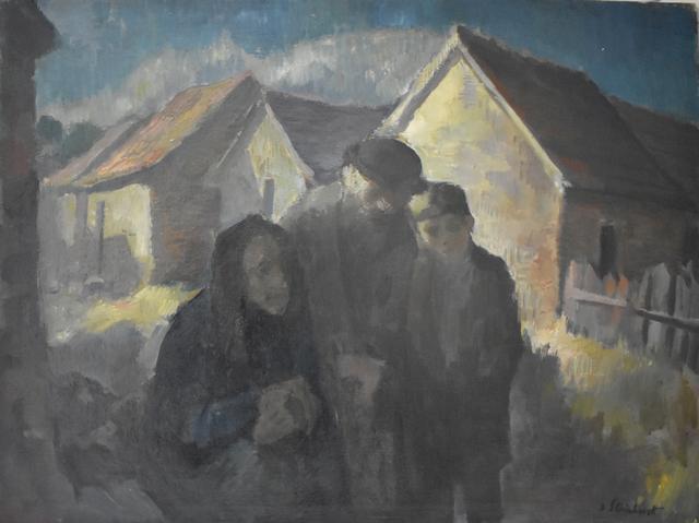 Jacob Steinhardt, ' Jewish Family | Wintery Swiss Town', 1920, Gilden's Art Gallery