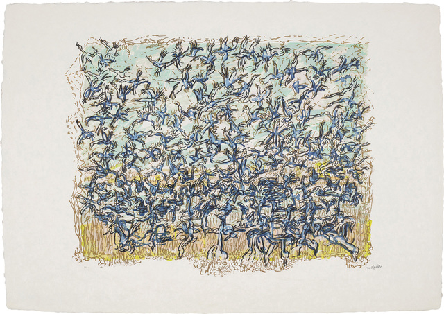 Jean-Paul Riopelle, 'Les Oies bleues (The Blue Geese)', 1981-83, Print, Lithograph in colours, on Japon paper, with full margins., Phillips